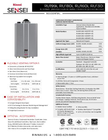 RU199IN Tankless Water Heater | Rinnai