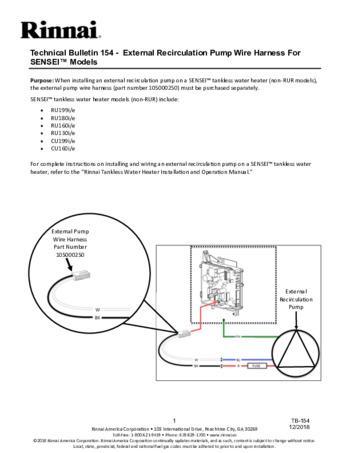 ru199en tankless water heater rinnaitb 154 external recirculation pump wire harness for sensei models 434 2kb