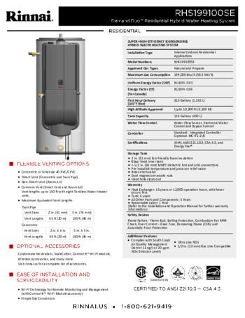 Rhs199100cuin Hybrid Water Heater Residential Rinnai