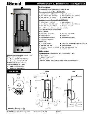 RHS19980HEXIN Hybrid Water Heater Residential | Rinnai America