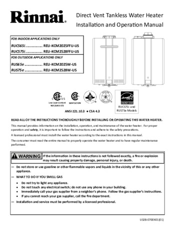 Rucs75in Tankless Water Heater Rinnai