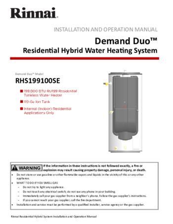 Rhs199100sein Hybrid Water Heater Residential Rinnai